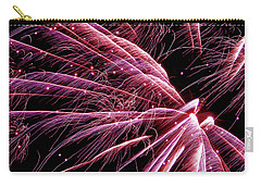 Carry-all Pouch featuring the photograph Pink Flamingo Fireworks #0710 by Barbara Tristan
