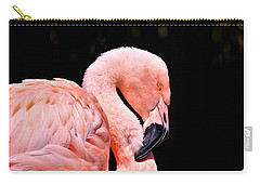 Pink Flamingo On Black Carry-all Pouch