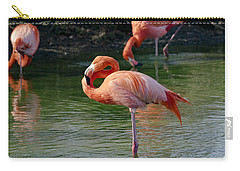 Carry-all Pouch featuring the photograph Pink Flamingo by Scott Carruthers