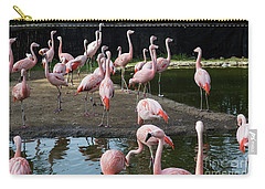Pink Flamingos Carry-all Pouch by Suzanne Luft
