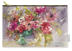 Pink Floral Impressions Carry-all Pouch by Judith Levins