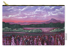 Carry-all Pouch featuring the painting Pink Flower Field by Anastasiya Malakhova