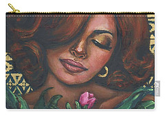 Carry-all Pouch featuring the painting Pink Flowers by Alga Washington