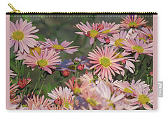 Pink Flowers On The Wall - Autumn In The Garden Carry-all Pouch