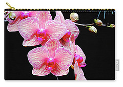 Pink Flowers Pink Vein Black Background Carry-all Pouch