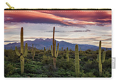 Carry-all Pouch featuring the photograph Pink Four Peaks Sunset  by Saija Lehtonen