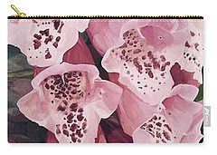 Carry-all Pouch featuring the painting Pink Foxglove by Laurie Rohner