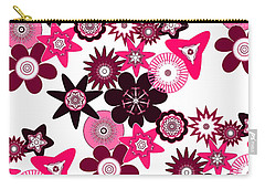 Pink Funky Flowers Carry-all Pouch by Methune Hively