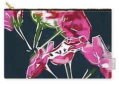 Carry-all Pouch featuring the mixed media Pink Geraniums- Art By Linda Woods by Linda Woods