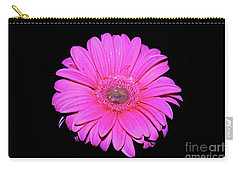 Pink Gerbera On Black Carry-all Pouch by Linda Bianic