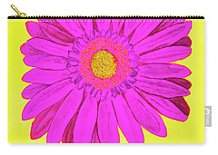 Pink Gerbera On Yellow, Watercolor Carry-all Pouch