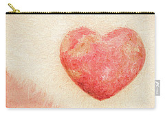 Carry-all Pouch featuring the photograph Pink Heart Soft And Painterly by Carol Leigh