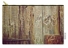Carry-all Pouch featuring the photograph Pink Hearts On Antique Wood Door by Brooke T Ryan