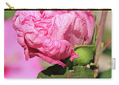 Pink Hibiscus Bud Carry-all Pouch by Inspirational Photo Creations Audrey Woods