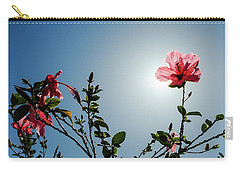 Pink Hibiscus Flowers Carry-all Pouch by Tetyana Kokhanets