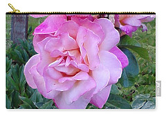 Carry-all Pouch featuring the photograph Pink-lavender Rose Trio by Sadie Reneau