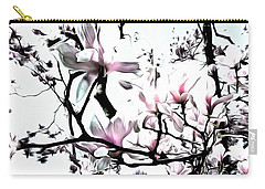 Pink Magnolia - In Black And White  Carry-all Pouch