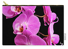 Pink Orchid With Black Background Carry-all Pouch