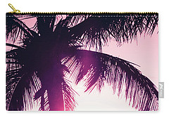 Carry-all Pouch featuring the photograph Pink Palm Tree Silhouettes Kihei Tropical Nights by Sharon Mau