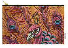 Pink Peacock Carry-all Pouch by Leah Saulnier The Painting Maniac