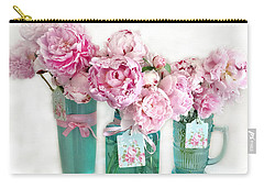 Carry-all Pouch featuring the photograph Pink Peonies In Aqua Vases Romantic Watercolor Print - Pink Peony Home Decor Wall Art by Kathy Fornal