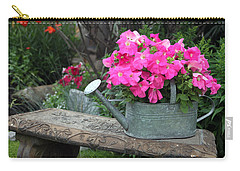 Pink Petunias In Watering Can  Carry-all Pouch