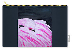 Carry-all Pouch featuring the painting Pink Primping Flamingo by Sonya Nancy Capling-Bacle