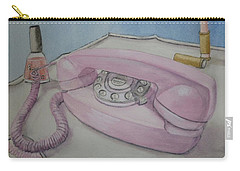 Carry-all Pouch featuring the painting Pink Retro 1960 Telephone by Kelly Mills