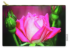 Pink Rose Carry-all Pouch by Inspirational Photo Creations Audrey Woods