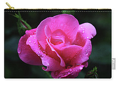 Pink Rose With Raindrops Carry-all Pouch by Trina Ansel
