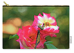 Pink Roses And Butterfly Photo Carry-all Pouch by Luana K Perez