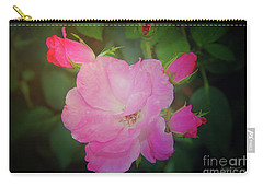 Pink Roses  Carry-all Pouch by Inspirational Photo Creations Audrey Woods