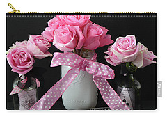 Carry-all Pouch featuring the photograph Pink Roses French Decor - Pink And Black Parisian Wall Art - Pink Roses French Home Decor by Kathy Fornal