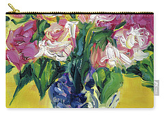 Pink Roses In Blue Deft Vase Carry-all Pouch