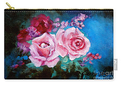 Pink Roses On Blue Carry-all Pouch by Jenny Lee