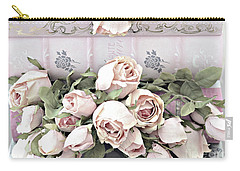 Carry-all Pouch featuring the photograph Pink Shabby Chic Roses On Pink Cottage Books - Shabby Cottage Pink Roses Home Decor by Kathy Fornal