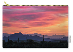 Carry-all Pouch featuring the photograph Pink Silhouette Sunset  by Saija Lehtonen