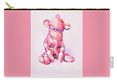 Carry-all Pouch featuring the digital art Pink Sock Monkey by Jane Schnetlage