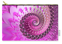 Pink Spiral With Lovely Hearts Carry-all Pouch by Matthias Hauser