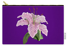 Carry-all Pouch featuring the digital art Pink Tiger Lily Blossom by Walter Colvin