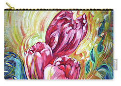 Pink Tulips And Butterflies Carry-all Pouch by Harsh Malik