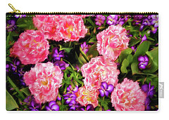 Carry-all Pouch featuring the photograph Pink Tulips With Purple Flowers by James Steele