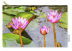 Pink Water Lilies In A Pond Carry-all Pouch