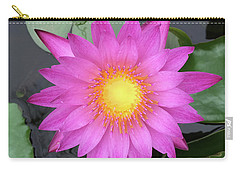 Pink Water Lily Flower Carry-all Pouch by Tony Grider