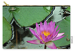 Carry-all Pouch featuring the photograph Pink Water Lily by Judy Vincent