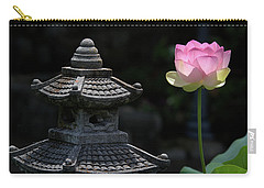 Pink Water Lily With Black Background Carry-all Pouch