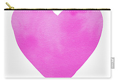 Carry-all Pouch featuring the mixed media Pink Watercolor Heart- Art By Linda Woods by Linda Woods
