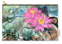 Carry-all Pouch featuring the painting Pink Waterlily by Sherry Shipley