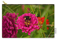 Pink Zinnia And Bee Carry-all Pouch