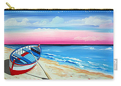 Pinkish Sunset And Boat Carry-all Pouch